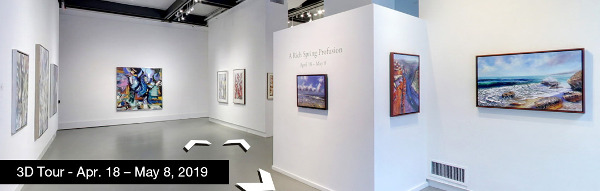 Take a virtual tour of the April 18, 2019 exhibition at Agora Gallery